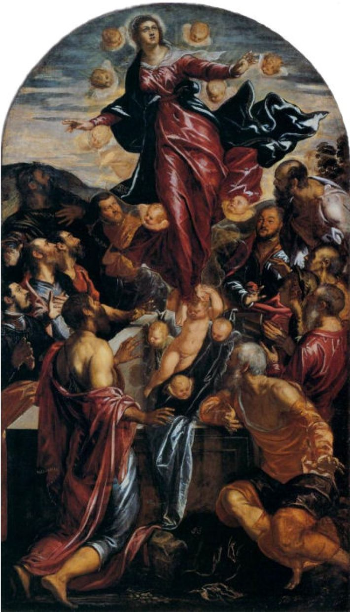 Tintoretto, Maria-Tenhemelopneming, ca. 1550, olieverf op doek, 244 x 137 cm, Gallerie dell'Accademia, Venetië