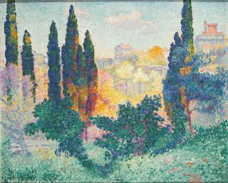 De cipressen in Cagnes (1908) - Henri-Edmond Cross
