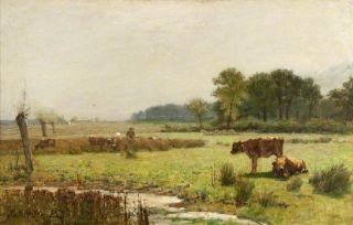 Een weiland in Surrey in de morgen (1880) - Edward Arthur Walton